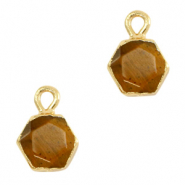 Natural stone charms hexagon Topaz Brown-Gold