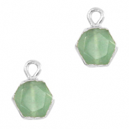 Natural stone charms hexagon Ocean Green-Silver