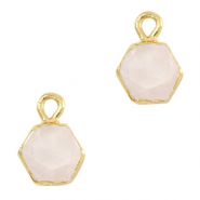 Natural stone charms hexagon White Rose-Gold