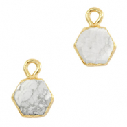 Natural stone charms hexagon Marble White-Gold