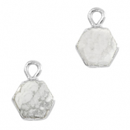 Natural stone charms hexagon Marble White-Silver