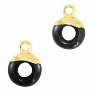 Natural stone charms circle 10mm Black-Gold