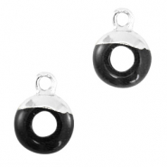 Natural stone charms circle 10mm Black-Silver