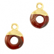 Natural stone charms circle 10mm Terracotta Brown-Gold