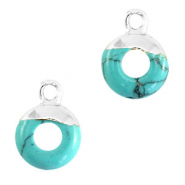 Natural stone charms circle 10mm Marble Turquoise-Silver