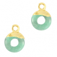 Natural stone charms circle 10mm Ocean Green-Gold