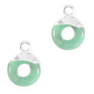 Natural stone charms circle 10mm Ocean Green-Silver