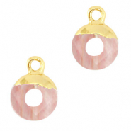 Natural stone charms circle 10mm Blossom Pink-Gold