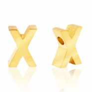 Stainless steel beads letter X Gold