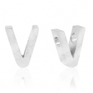 Stainless steel beads letter V Silver