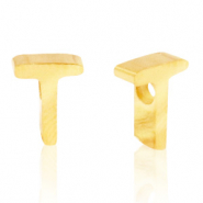Stainless steel beads letter T Gold