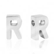 Stainless steel beads letter R Silver