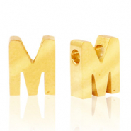 Stainless steel beads letter M Gold