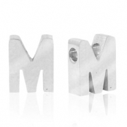 Stainless steel beads letter M Silver