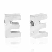 Stainless steel beads letter E Silver