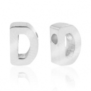 Stainless steel beads letter D Silver
