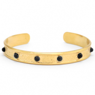 Stainless steel bracelets with natural stone Gold-Black