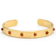 Stainless steel bracelets with natural stone Gold-Red