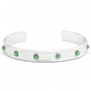 Stainless steel bracelets with natural stone Silver-Green