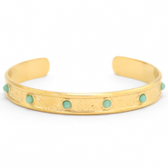 Stainless steel bracelets with natural stone Gold-Blue