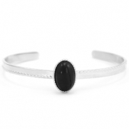 Stainless steel bracelets with natural stone Silver-Black