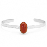 Stainless steel bracelets with natural stone Silver-Red