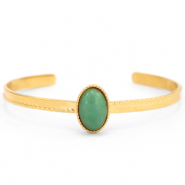 Stainless steel bracelets with natural stone Gold-Green