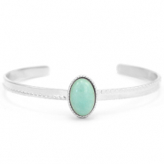 Stainless steel bracelets with natural stone Silver-Blue