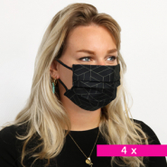 Non-medical face coverings geometric discount packaging Black-Gold