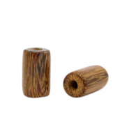 Wooden beads tube 10mm Tobacco Brown