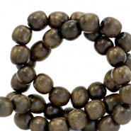 Wooden beads round 6mm Olive Brown