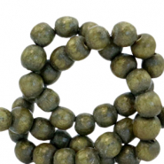 Wooden beads round 4mm Olive Green