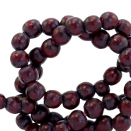 Wooden beads round 4mm Mahogany Red