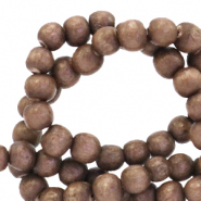 Wooden beads round 4mm Redwood Brown
