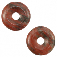 Natural stone charm disc Stone Red