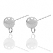 Stainless steel earrings with loop Silver