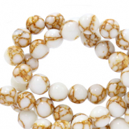 6 mm natural stone beads Jade White-Gold