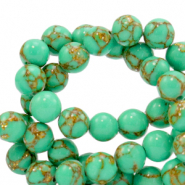 4 mm natural stone beads Jade Quiet Wave Green-Gold