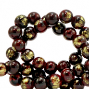 8 mm natural stone beads Jade Bordeaux Red-Gold