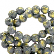 6 mm natural stone beads Jade Lava Grey-Gold