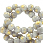 4 mm natural stone beads Jade Light Grey-Gold
