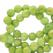 6 mm natural stone beads Jade Lime Green-Gold