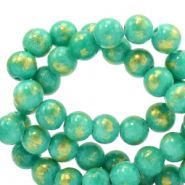 6 mm natural stone beads Jade Turquoise Green-Gold
