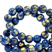 4 mm natural stone beads Jade Classic Blue-Gold