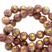 4 mm natural stone beads Jade Mauve Purple-Gold
