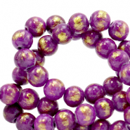6 mm natural stone beads Jade Purple-Gold