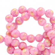 6 mm natural stone beads Jade Azalea Pink-Gold