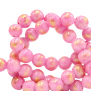 4 mm natural stone beads Jade Azalea Pink-Gold