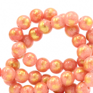 6 mm natural stone beads Jade Coral Pink-GOld