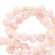 6 mm natural stone beads Jade Soft Pink-Gold